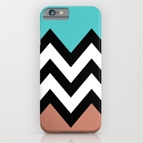 AQUA & DARK CORAL CHEVRON COLORBLOCK iPhone & iPod Case