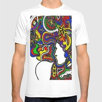 Rainbow Techno Mens Fitted Tee White SMALL