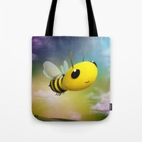 Bee Flying On Colour Sky Tote Bag
