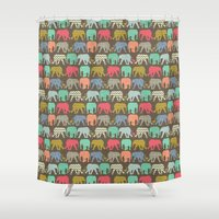 baby elephants and flamingos dark linen Shower Curtain
