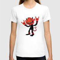 Heavy Metal Devil Womens Fitted Tee White SMALL