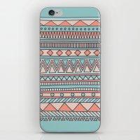 Tribal #4 (Coral/Aqua) iPhone & iPod Skin