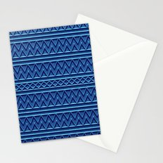 3D Chevrons and Lines in Blue Stationery Cards