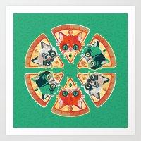 Pizza Slice Cats  Art Print