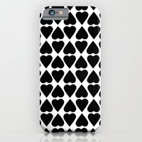 iPhone & iPod Case featuring Diamond Hearts Repeat Black by Project M