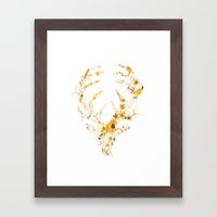 Mr Stag Orange Flowers Framed Art Print
