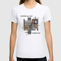 Coffee All Day Womens Fitted Tee Ash Grey SMALL