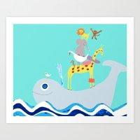 Taxi Whale Art Print