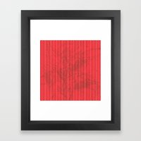 Red grunge stripes on white background Framed Art Print