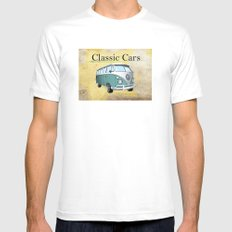 Classic Cars 2 White SMALL Mens Fitted Tee