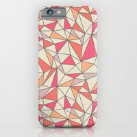 triangles color block in coral pink and orange iPhone 6 Slim Case