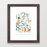 Animal Numbers -  Safari colorway Framed Art Print