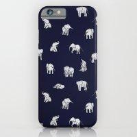 Indian Baby Elephants in Navy iPhone 6 Slim Case