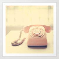 Pink Retro Telephone on Yellow Background  Art Print