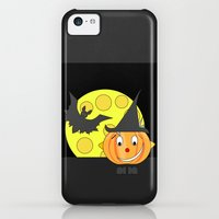 iPhone Cases featuring Funny half smile pumpkin head with bat and moon by Wendy Townrow