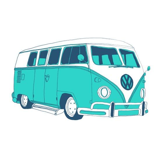 Blue Camper Van Art Print