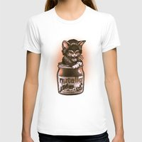 Kitten Loves Nutella Womens Fitted Tee White SMALL