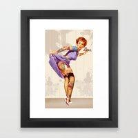 Redhead Pin-up Framed Art Print