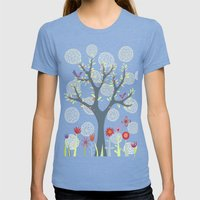 The Garden Womens Fitted Tee Tri-Blue SMALL