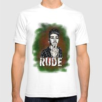 Rude Mens Fitted Tee White SMALL