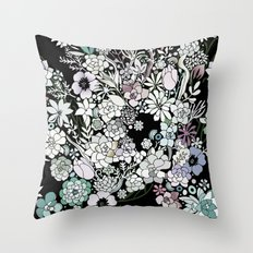 Colorful black detailed floral pattern Throw Pillow