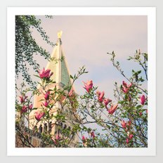 Magnolia Campanile Spring Venice Italy Travel Photography Art Print