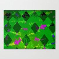 Argyle Frenzy In Emerald… Canvas Print