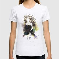 Watercolor Girl Womens Fitted Tee Ash Grey SMALL