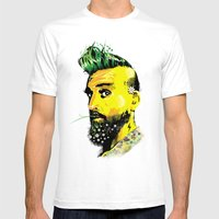GREEN BEARD Mens Fitted Tee White SMALL