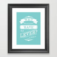 Why do we even have that lever? Framed Art Print