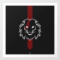 Monarch (White & Red) Art Print
