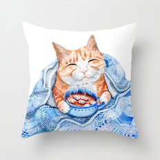 Happy Cat Drinking Hot Chocolate Throw Pillow