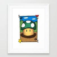 1Up Super Mario Framed Art Print