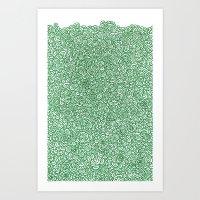 Green flowery doodle Art Print
