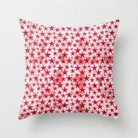 Red stars on grunge textured white background  Throw Pillow