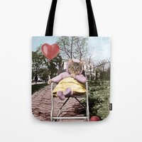 Pretty little Kitty with a heart balloon Tote Bag