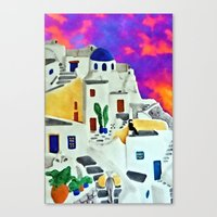Greek Island Sunset Canvas Print