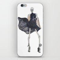skeleton in leather & fur iPhone & iPod Skin