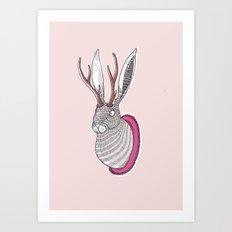 Deer Rabbit Art Print