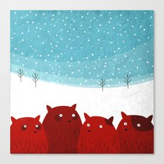 Squirrels In The Snow Canvas Print