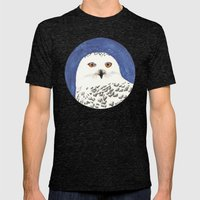 snowy owl Mens Fitted Tee Tri-Black SMALL