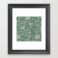 gargoyles teal Framed Art Print