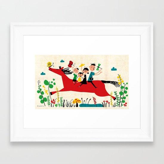 happy horse Framed Art Print