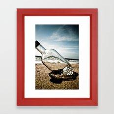 Bottle On Beach Framed Art Print