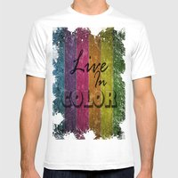 Live In Color.  Mens Fitted Tee White SMALL