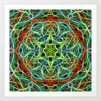 Feathered texture mandala in green and brown Art Print