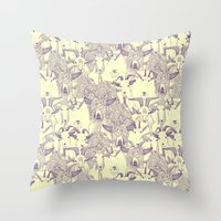 Just Goats Purple Cream Throw Pillow