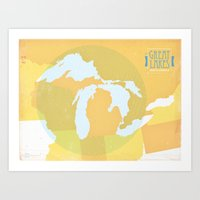The GREAT LAKES Of NORTH… Art Print