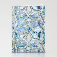 Geometric Gilded Stone Tiles in Soft Blues Stationery Cards