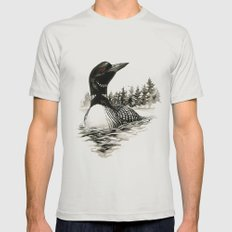 North Shore Loon Mens Fitted Tee Silver SMALL